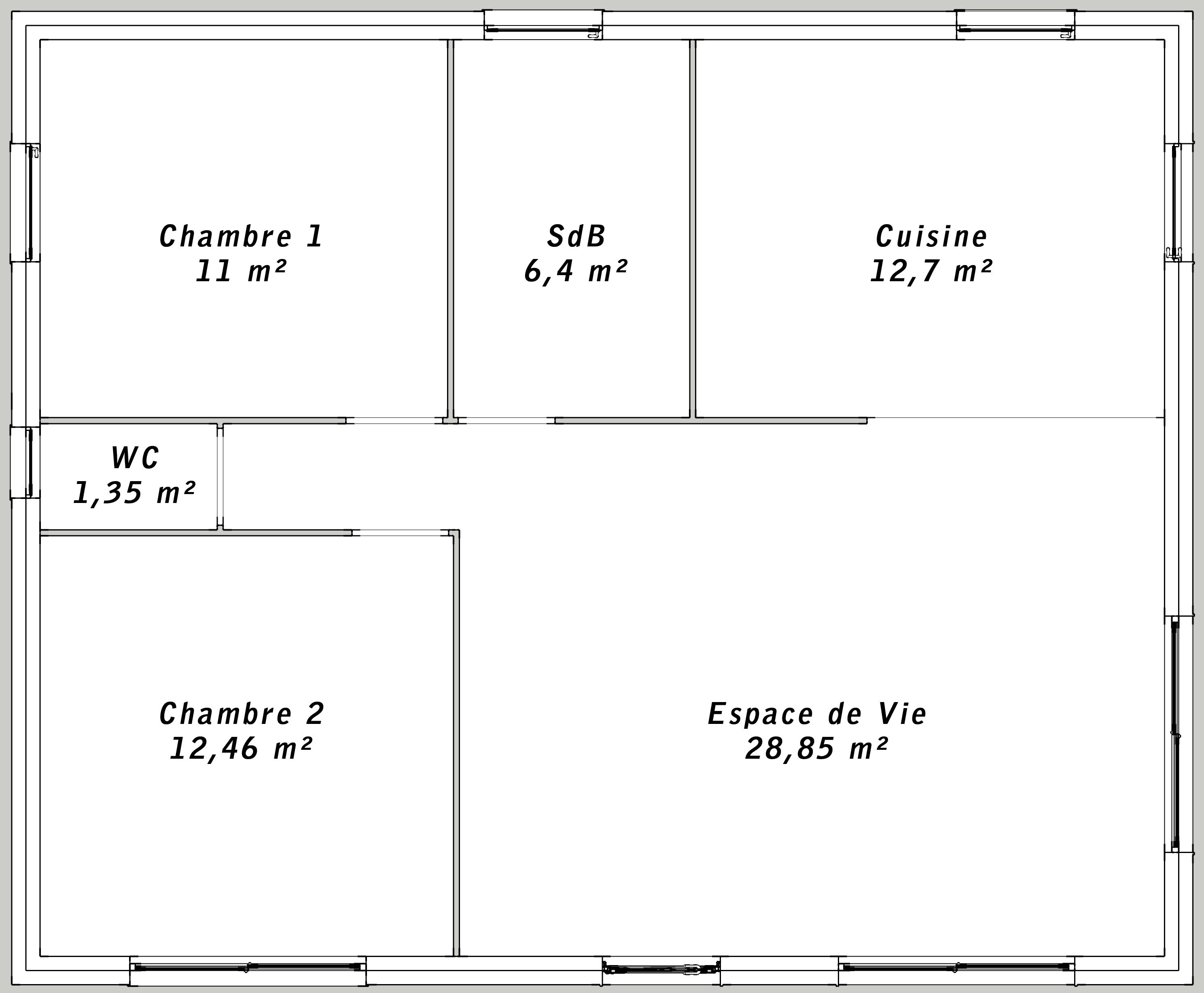 Plan maison t3 maison moderne montrevard plan maison for Plan maison plain pied 50m2